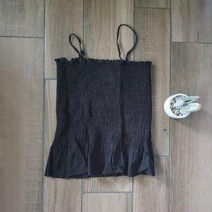 Anthropologie maeve black smocked top blouse L